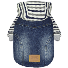 Dobaz Denim Striped Dog Hoodie Jacket