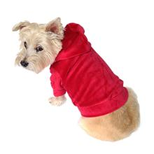 Velour Pullover Dog Hoodie - Red