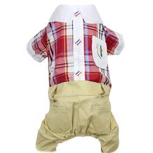 Parisian Pet Plaid Royal Dog Jumpsuit - Red