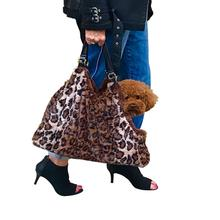 Hollywood Fur-lined Dog Tote Carrier - Brown Leopard