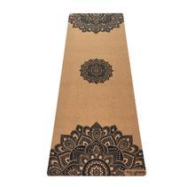 5.5mm Cork Yoga Mat - Mandala Black