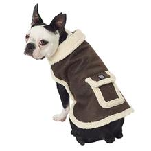 Acadia Faux Suede Bomber Dog Jacket - Distressed Brown
