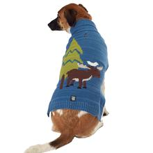 Acadia Moose Dog Sweater - Blue Heather