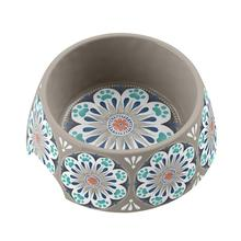 Carmel Medallion Dog Bowl by TarHong - Grey