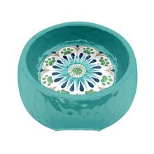Alfresco Medallion Turquoise Pet Bowl by TarHong