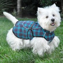 Alpine Flannel Dog Coat by Doggie Design - Navy Blue and Turquoise Plaid
