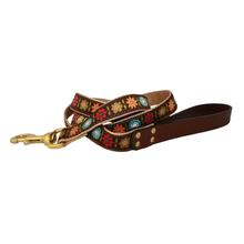 American Traditions Leather and Ribbon Dog Leash - Bella Floral