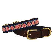 American Traditions Leather and Ribbon Dog Collar - Pink Garden