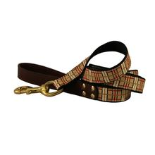 American Traditions Leather and Ribbon Dog Leash - Up Country Plaid