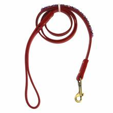 Amethyst Mini Beads Leather Dog Leash - Red