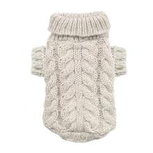 Angora Cable Knit Dog Sweater by Hip Doggie - Sand