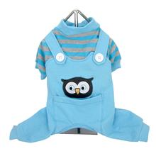 Animal Overalls Dog Pajamas - Owl Blue