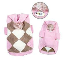 Argyle Pattern Hoodie Dog Sweater from Klippo - Pink