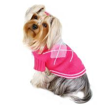 Argyle Pattern Turtleneck Dog Sweater from Klippo - Pink
