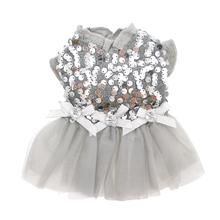 Aria Party Dog Dress - Silver