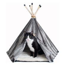 Armarkat Teepee Style Cat Bed - Gray Striped