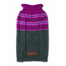 Ashford Stripe Cable Dog Sweater - Plum Wine/Gray