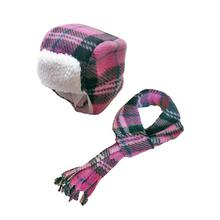 My Canine Kids Aviator Hat and Scarf Set for Dogs - Pink Plaid