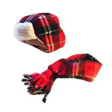 My Canine Kids Aviator Hat and Scarf Set for Dogs - Red Plaid
