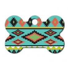 Aztec Bone Small Engravable Pet I.D. Tag - Multi-colored