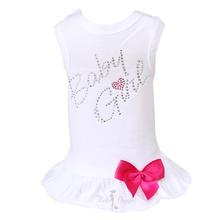 Baby Girl Dog Dress by Hello Doggie - White with Pink Bow