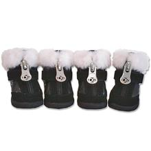 Hiker Dog Boots with Faux Fur Trim - Black