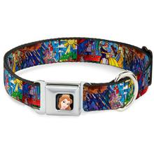 Beauty and the Beast Stained Glass Seatbelt Buckle Dog Collar by Buckle-Down