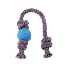 BECO Natural Rubber Ball on Rope Dog Tug Toy - Blue