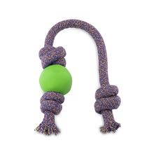 BECO Natural Rubber Ball on Rope Dog Tug Toy - Green