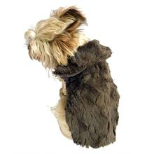 Bella Luxury Faux Fur Dog Coat - Charcoal