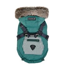 Bellamy Hooded Dog Vest by Puppia - Hunter Green/Khaki