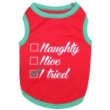 Naughty or Nice Dog Tank by Parisian Pet - Red