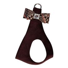 Chocolate Glen Houndstooth Big Bow Step-In Dog Harness by Susan Lanci - Chocolate