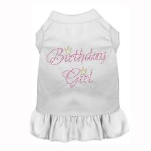 Birthday Girl Rhinestone Dog Dress - White