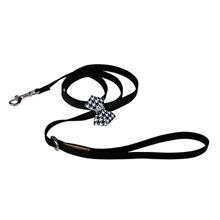 Black & White Houndstooth Nouveau Bow Dog Leash by Susan Lanci - Black