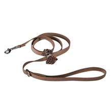 Chocolate Glen Houndstooth Nouveau Bow Dog Leash by Susan Lanci - Fawn