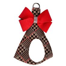Chocolate Glen Houndstooth Red Nouveau Bow Step-In Dog Harness by Susan Lanci
