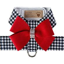 Black and White Houndstooth Red Nouveau Bow Tinkie Dog Harness by Susan Lanci