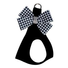 Black & White Houndstooth Nouveau Bow Step-In Dog Harness by Susan Lanci - Black