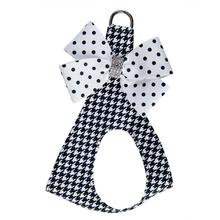 Houndsthooth Polka Dot Nouveau Bow Polka Dot Step-In Dog Harness by Susan Lanci
