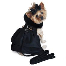 Wool Fur-Trimmed Dog Harness Coat by Doggie Design - Black