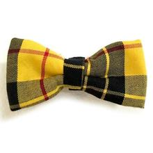 Yellow and Black Plaid Dog Bow Tie from Daisy and Lucy