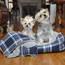 Blue Plaid Dog Bed with Bone and Blanket by Doggie Design