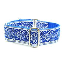 Blue Scroll Satin Lined Elite Martingale Wide Dog Collar