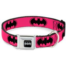 Batman Bat Signal Seatbelt Buckle Dog Collar by Buckle-Down - Black/Pink