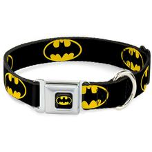Batman Shield Seatbelt Buckle Dog Collar by Buckle-Down - Black/Yellow