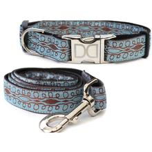 Calligraphy Blue Dog Collar and Leash Set by Diva Dog
