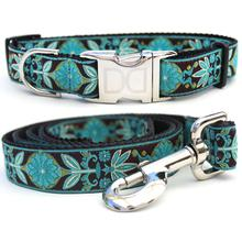 Boho Peacock Dog Collar and Leash Set by Diva Dog