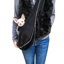 Boho Faux Suede Shearling Dog Sling - Black
