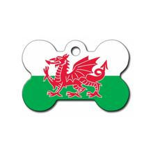 Bone Large Chrome Engravable Pet I.D. Tag - Welsh Flag